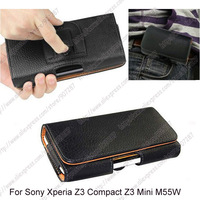 New High quality PU Flip Belt Clip pouch holster leather case cover For Sony Xperia Z3 Compact Z3 Mini M55W