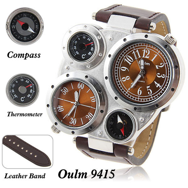 Two Movts GMT Dual Display Original OULM Quartz Sports Watches Compass Thermometer Leather Strap Wristwatch!(China (Mainland))
