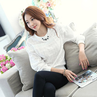 Hot Sale 2014 Autumn Tops Women's Blouses Fashion Embroidery Long Sleeve T-Shirt Ladies Elegant White Blouse Female Fall Clothes