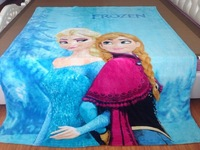 Children's air conditioning blanket cartoon princess Frozen design coral fleece 150*200cm student blanket , freeshipping