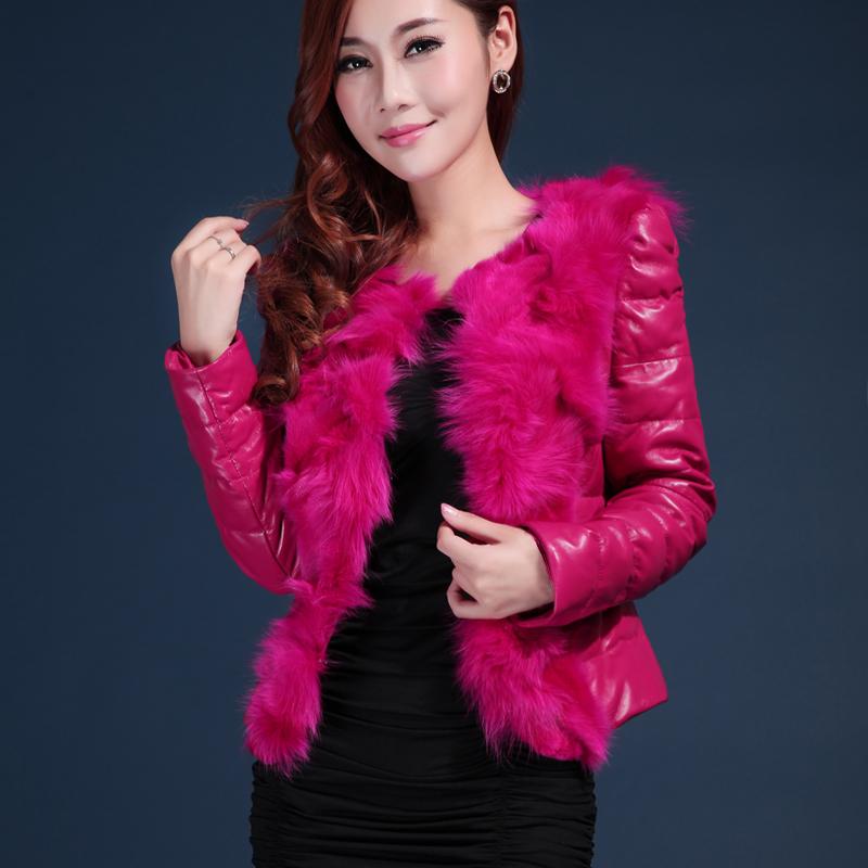 2014 real fox fur coat genuine sheepskin leather down coat women leather jacket(China (Mainland))