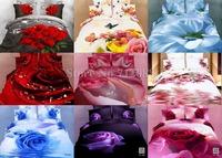 Wholesale New 3D Romantic Rose Peach Flower Floral Butterfly 4pcs queen/full comforter/duvet covers bed linen bedding sets