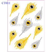 Feather Flash Gold Silver Foil Metallic Tattoo CT011