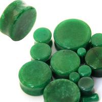 Pair Organic Green Jade Double Flare Saddle Stone Gemstone Ear Plug 24pcs/lot