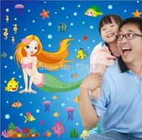 105*170cm Mermaid Wall Stickers Removable Vinyl Decals Home Decor Poster Girls Kids Baby Sticker Wall Mural Kindergarten Art
