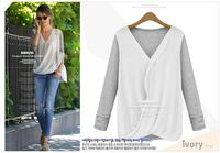 Fashion Lady Women's Batwing Top Cotton Long Sleeve T-shirt Blouse Black Size S/M/L/XL