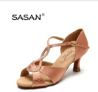 High quality soft outsole denim heels with rhinestones in medium and high sizes latin dance shoes for women free shippng