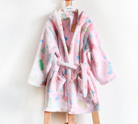 Free shipping wholesale and retail children girl pink color coral fleece lovely candy autumn winter warm night robe with hat