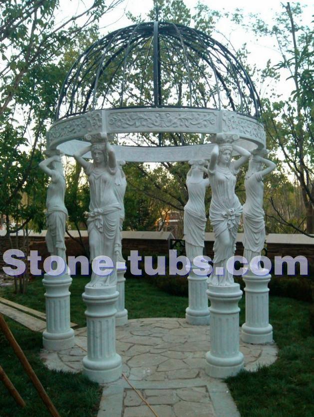 Pátios de pedra ao ar livre gazebo do jardim de mármore branco mulher figura escultura em colunas(China (Mainland))
