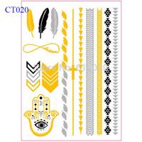 Evil Eye Gold Tattoo Arrow Tattoo Feather Tattoo Infinity Tattoo Flower And Cross Bracelet Metallic Gold Tattoo CT020