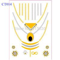 Flash Tattoo Classy Tats Jewelry Inspired Metallic Gold & Silver & Black Necklace Tattoo CT014