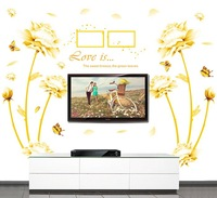160*180cm 2014 New Frame Wall Stickers Removable Vinyl Decals Home Decor Love Poster Gold Flower Sticker Wall Mural Couples Art