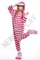 New Cheshire Cat Costume Onesie Hooded Animal Pajamas Adults Cosplay Anime Costumes One Piece Fleece Pajama