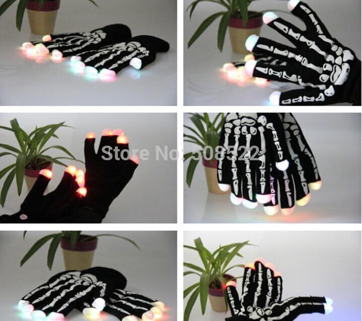 2pcs(1pair) Novelty LED Gloves New LED Rave Finger Lighting Blink Flashing Gloves for Dance Party Holloween Skull Glove(China (Mainland))