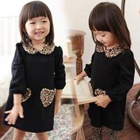 Free shipping 2014 new autumn winter children girl dress leopard print collar pocket  black color kids dress