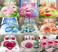 new bed linen 3D romantic rose sweetheart tulip flower floral 4pcs queen/full comforter/duvet covers bedding sets Wholesale