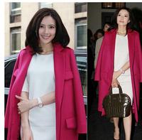 Women's Winter Woolen Jacket New Long Red Wool Outerwear Ladies Single Bleasted Straight Wool & Blends Big Pockets Blue Overcoat