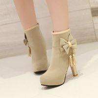 new 2014 high heel ankle boots heels platform women winter boots autumn bowtie tassel red bottom shoes woman pumps black beige