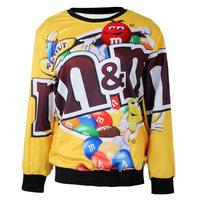 2014 New Fashion Autumn Women Hoody O-Neck Long Sleeve M&M 3D Printed Yellow Women Sweatshirt Casual loose Sport Suit WY-40814