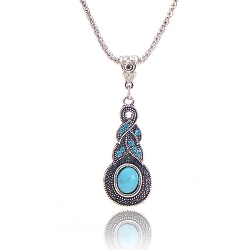 Jewelry Charming Crystal Tibetan Silver rhinestone cross Geometric round turquoise infinity pendant necklace jewelry 2014 M13(China (Mainland))