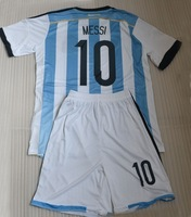 2014 Messi 10 KUN AGUERO 16# MASCHERANO 14 LAVEZZI 22 soccer kits (jersey + short) ,MESSI foootball uniform + can custom names