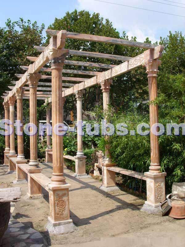 Marmeren snijdende outdoor pergola met stenen zuilen ontwerp tuin gang in neem dan merkte over for Tuin decoratie met stenen