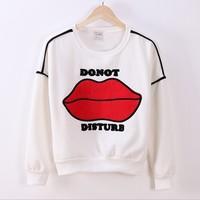 (Ada)patch big red lips wide women hoodies fleece inside winter new joker loose-fitting sweatshirts 2 color free shipping