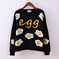 (Alice)funny scrambled egg print fashion hoodies new arrival long sleeve O neck cotton hoodies for women fleece warm Hoodie