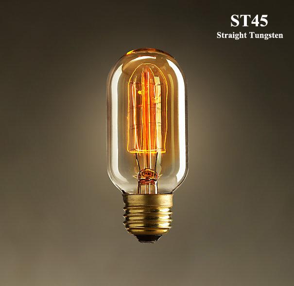 ST45 Vintage Edison Light Bulbs Clear Glass 40W E27 Incandescent Bulbs Home Decoration Lighting 110V 220V Straight Tungsten Bulb(China (Mainland))