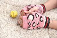 2014 Fashion Autumn Winter Colorful Fingerless Cute Lady Gloves Warm Knitted Wool Women Mittens