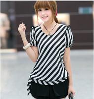 Free shipping summer woman t shirts 2014 Korean casual slim stripe ladies tops S-XXXL big size women clothes