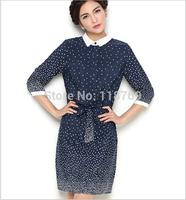 New Arrival 2014 Summer New Women's Dress Polka Dot Slim Was Thin Sleeve Chiffon Dress Women Vintage Dress For Female