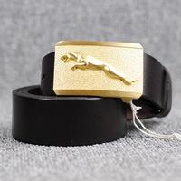 Brass 3D Leopard Buckle Genuine Leather Famous Brand Belts For Men Strap Mens belt Luxury  Cinto Masculino Man Ceinture MBT0233