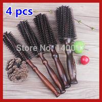 4pcs Free Shipping Professional Salon Hair Styling Brushes Hairbrush Barrel Bristle Wood Handle Comb Hair Care