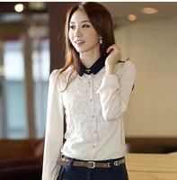Fashion 2014 S-XL plus size women clothing casual shirt women blouses long-sleeve chiffon blusa feminina