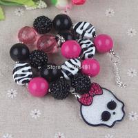 Girl's Glitter Halloween Skull Pendant Chunky Necklace, Monster Pendant Necklace, Girly Skull Chunky Necklace DIY Halloween