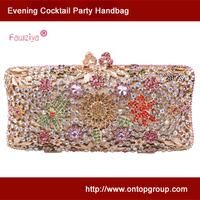 Multicolor diamond flower pattern gorgeous ladies handbag evening party bag