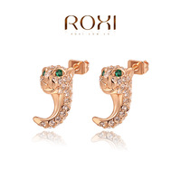 ROXI Free Shipping Christmas Gift Green Crystal Earrings For Women Brincos Grandes Rose Gold Plated Earrings Fashion Jewelry