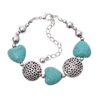 Vintage Jewelry Charming Crystal Tibetan Silver  beaded bohemian Style Romance Turquoise Heart bracelet bangle jewelry 2014 M16