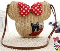 Mickey rattan bag, handmade straw high quality luxury exclusive design Lolita shoulder bag