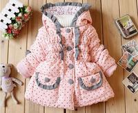 Retail1 Pcs New 2014 Children Hooded Outerwear Warm Down kids Flower Print Coats Winter Spring Jackets For girls  CCC353