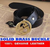 Double G Brass Buckle Genuine Leather Brand Belts For Men Luxury Designer Mens belt Strap Cinto Masculino Ceinture MBT0234