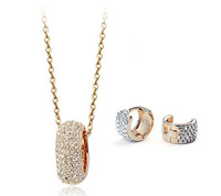 New Fashion Circle Necklace Earrings Crystal Jewelry Set for Women Free Shipping