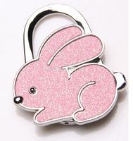 2014  free shipping fashion hot sale table bling pink cute rabbit foldable purse hanger hangbag hook 1pcs