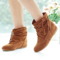 2014 new style fashion sweet flat boots for women shoes round toe sexy casual ankle boots drop wholesale