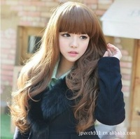 Soft Degree Hair 2014 sexy fashion 4 colors Long wave lady's synthetic wig free gift hairnet