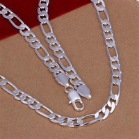 wholesale 10pcs 925 silver 6mm Men Figaro Necklace 16inch Free shipping 925 sterling silver chain necklace,FASHION JEWELRY