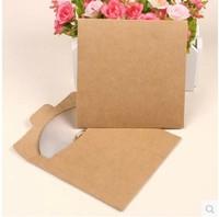 Free Shipping 50 PCs Kraft Paper DVD CD Bags Cover   Envelope New Vintage CD Optical disc Kraft Paper Bag/DIY Card bag/wholesale