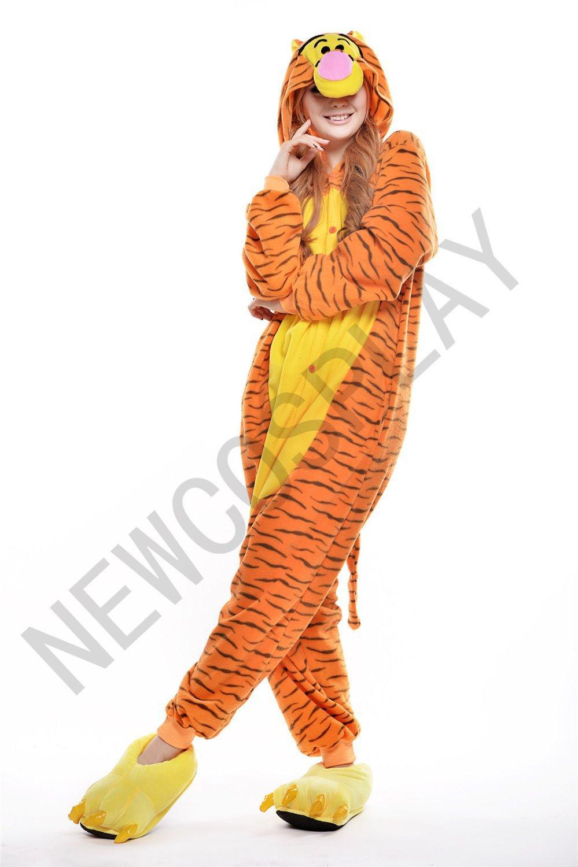 JP Anime Adult Onesies Tigger Pyjamas Unisex Pajamas Halloween Party Dress Cosplay Costume Cartoon Animal Hoodies(China (Mainland))