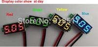 100pieces/lot 0.28 inch Led digital display DC voltage meter manual adjustable, two wireleads DC2.5-30V Battery Tester voltmeter